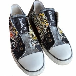 Ed Hardy Slip on Canvas Sneaker Shoes Size 12